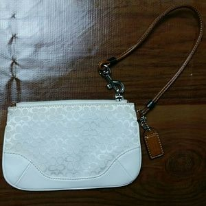 Coach wristlet white canvas leather trim lined